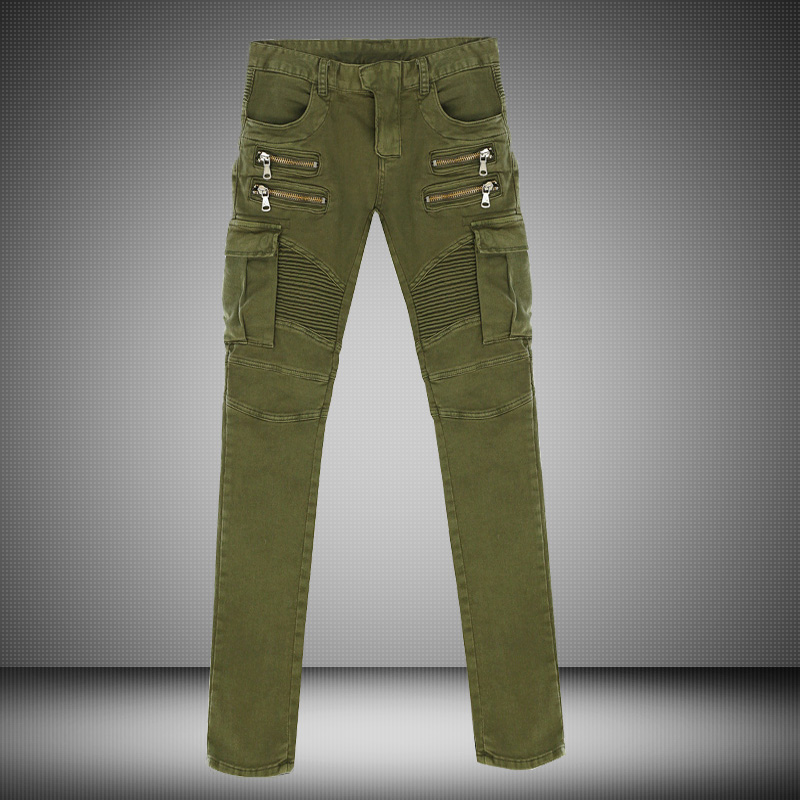 Famous Brand Men Green Black Denim Biker jeans Mens Skinny Runway Distressed Slim Elastic Jeans Hiphop Washed Ripped Jeans Men thin stretch jeans ripped denim trousers slim skinny black jeans men new famous brand biker jeans elastic mens jeans l702