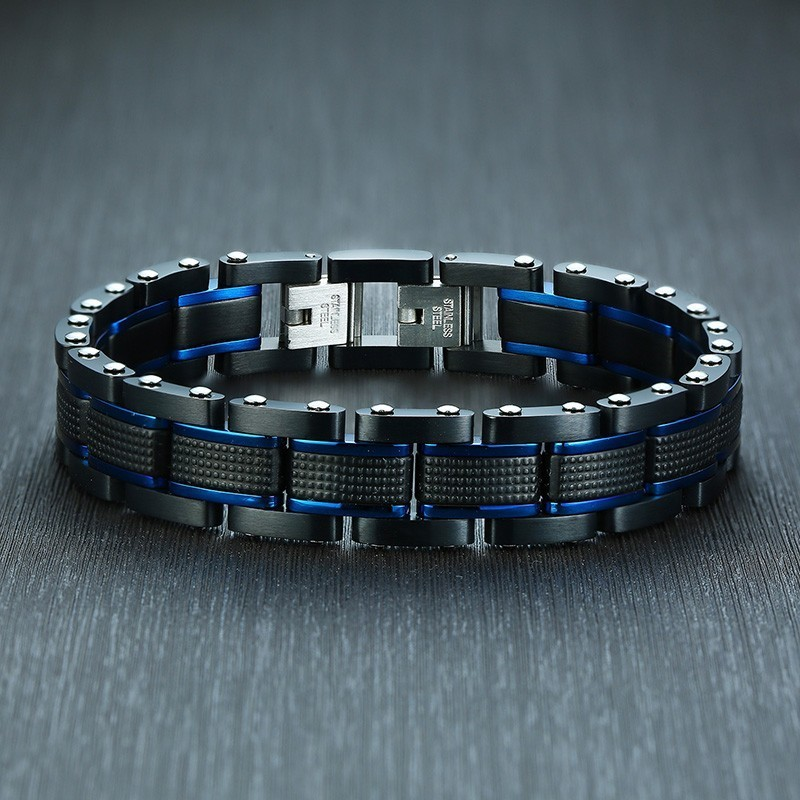 Stylish Mens Chain Bracelets Blue and Black Tone Stainless Steel Business Gifts pulsera masculina Casual Jewelry