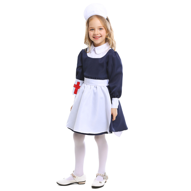 Kids Doctor Cosplay Costumes Baby Girls Nurse Uniforms Role Play Halloween Party Wear Fancy Girls Cosplay Costume