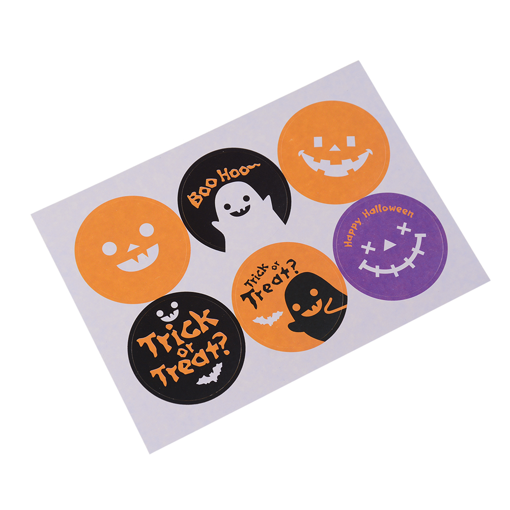 60Pcs/lot Kraft Halloween Design Sticker Labels food Seals Gift stickers Package Label Party Accessories Wholesale