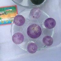 natural amethyst Crystal gemstone ball grid seven star array meditation healing chakra rock purple crystal wicca sphere