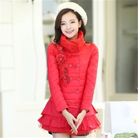 Women Coat Winter Women;'s Cotton Coat jackets Stand Collar lace Woman pakas Double Breasted Female cotton Long Coats N191