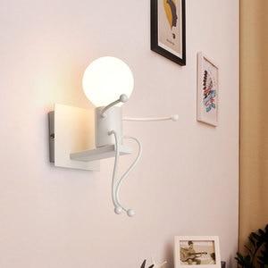 Image 2 - LED קיר אור קטן ברזל איש רכוב על קיר אור E27 בסיס Creative ילדים תינוק חדר שינה מסדרון קיר לילה אור ללא הנורה #