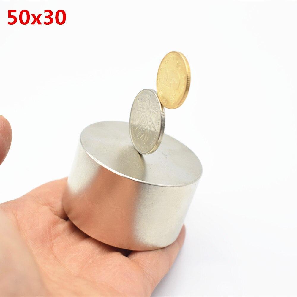 2 pz magnete Al Neodimio 50x30 terre rare super forte potente ciclo di saldatura di ricerca permanente magnete 50*30mm gallio disco di metallo