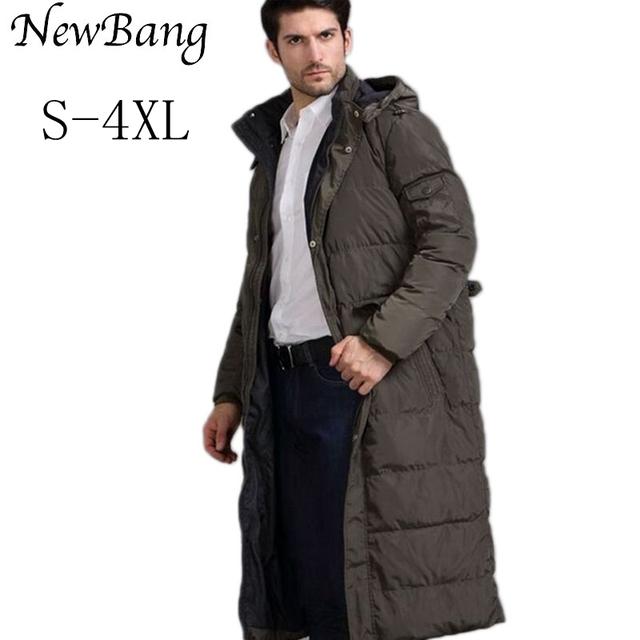 4XL Estilo Europeu Inverno Homens X-Casaco Longo Para Baixo Com Capuz de Lã Grossa Casacos Quentes À Prova de Vento E À Prova D' Água Mais tamanho Outwear