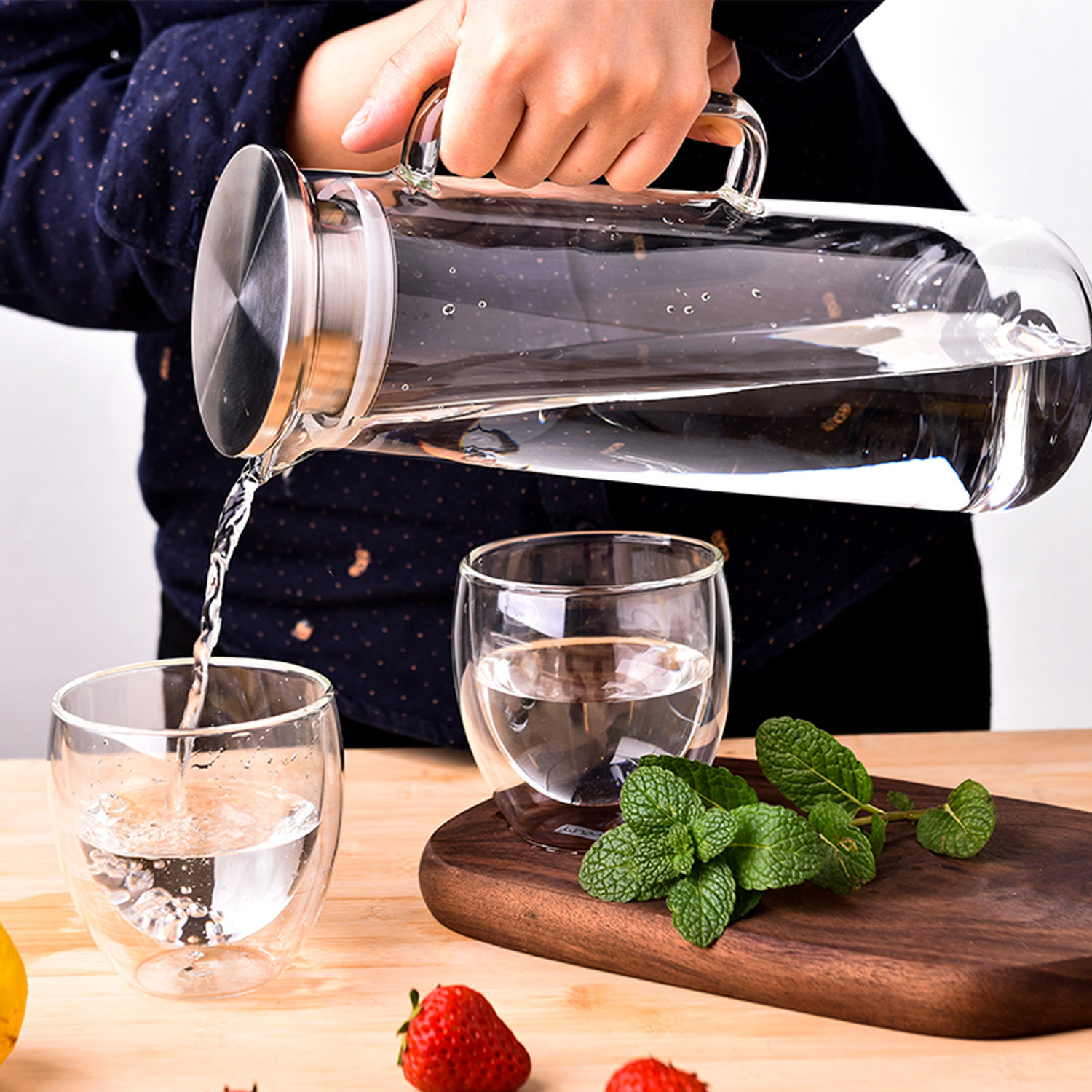 Behogar 50oz Clear Glass Bottle High Temperature Resistant Teapot Juice Beverage Flower Tea Water Jugs with Stainless Steel Lid image
