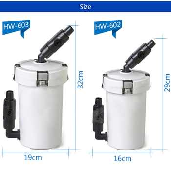 Nicrew sunsun aquarium filter ultra-quiet external aquarium 3-stage external canister filter bucket 220V / 6W /HW-602B / HW-603B