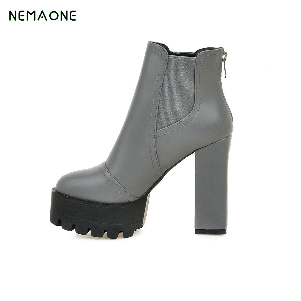 NEMAONE 2018 Woman Ankle Boots platform Square High Heel Fashion Solid Women Shoes Round Toe Ladies Motorcycle Boots Size 34-43 esveva 2017 women fashion boots pu punk shoes square high heel ankle boots round toe women platform motorcycle boots size 34 42