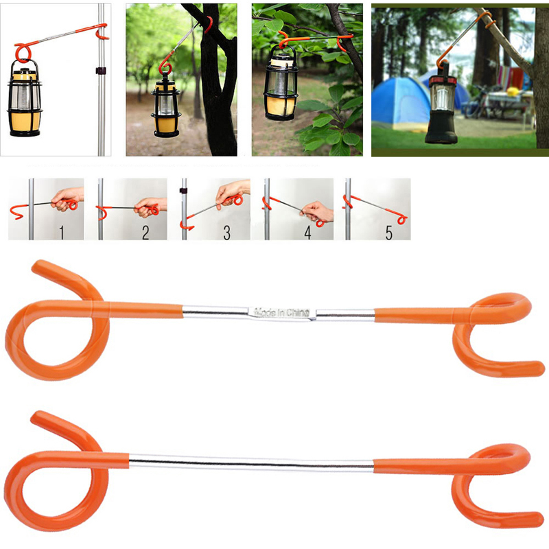 Outdoor Camping 2-way Lantern Light Lamp Hanger Tent Pole Post Hook Easy Outdoor Camping New
