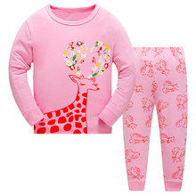 2017 Children Cartoon Pajamas Clothing Sets Girls Casual long-sleeved Blouse+pant two-piece Suit Set Boys Kids Sleepwear Sets