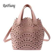 RanHuang New 2018 Women Fashion Handbags Hollow Out Bucket Bags Women s Pu  Leather Shoulder Bags Girls 4721a6de3b8b8