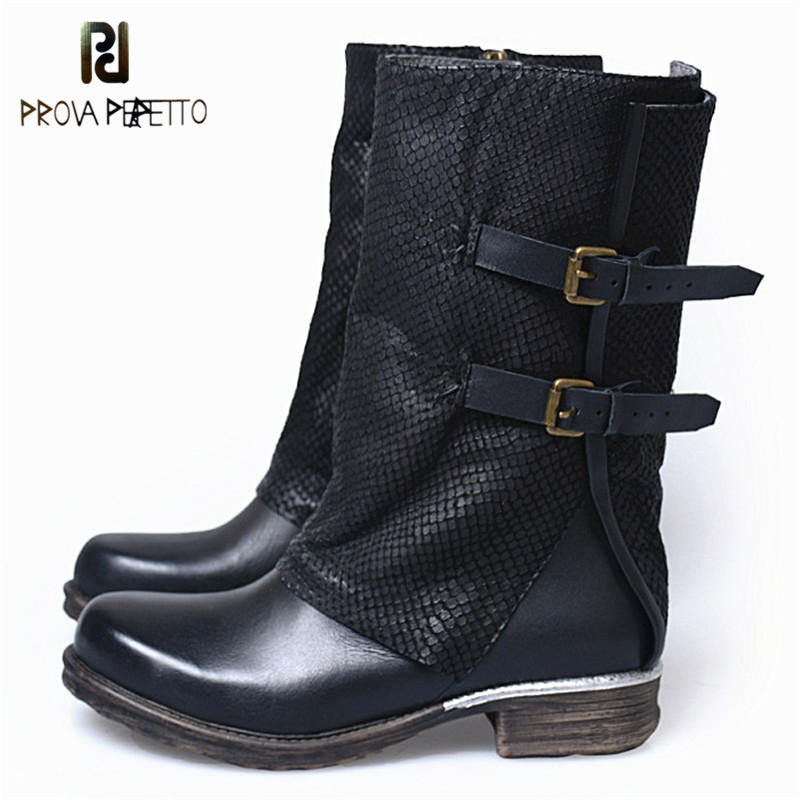 Prova Perfetto Winter Warm A nd Comfortable Genuine Leather Patchwork Woman Low Heel Boots Buckle Strap Square Toe Zip Boots prova perfetto autumn winter new genuine leather low heel women mid calf boots round toe thick bottom comfortable martin boots