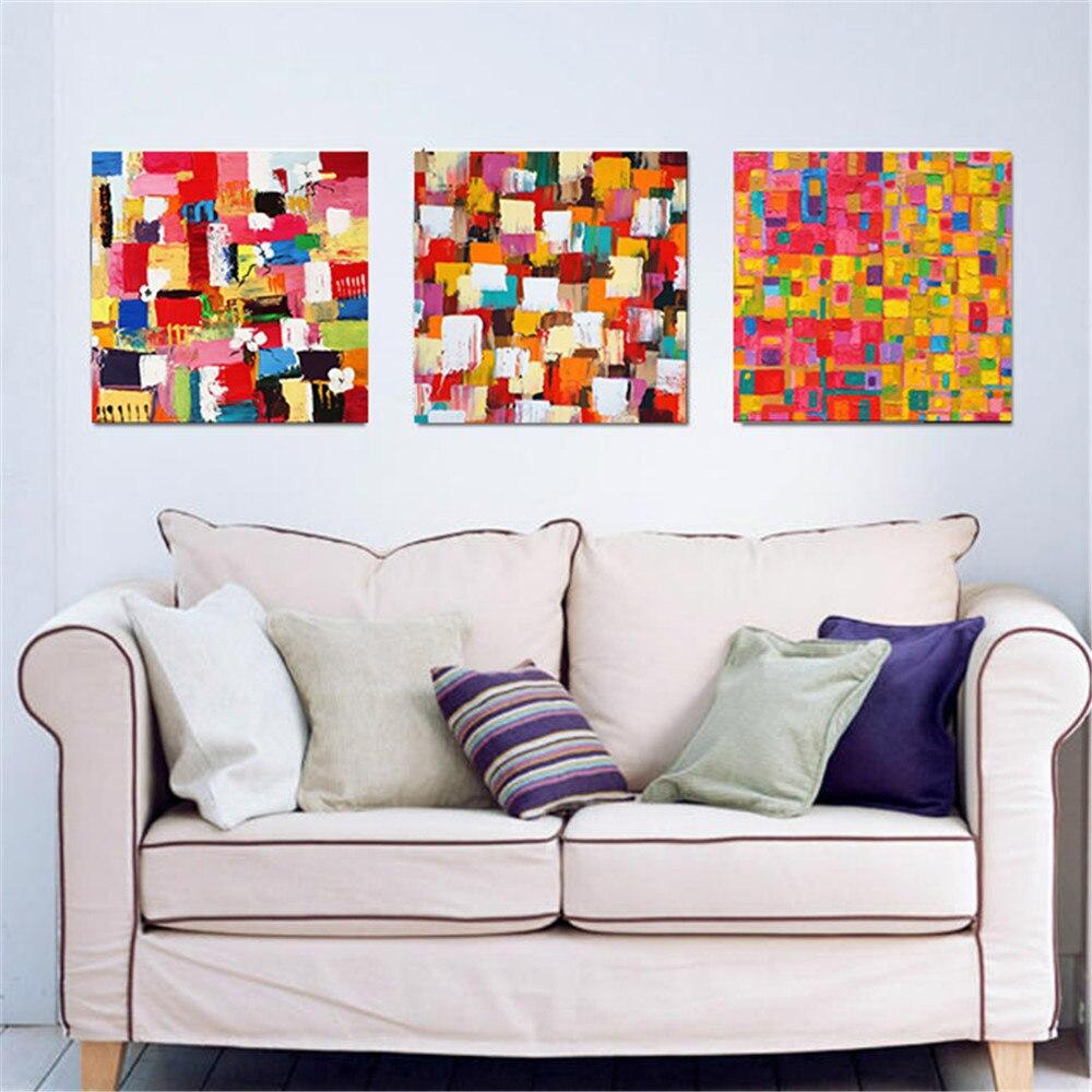 Haochu Tidak Teratur Minimalis Blok Warna Gambar Kanvas Lukisan