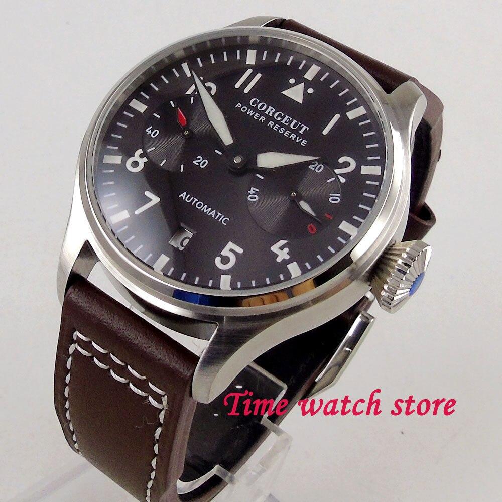 New arrive 42mm Corgeut power reserve men's watch black dial luminous date small second hand Automatic wrist watch men 121