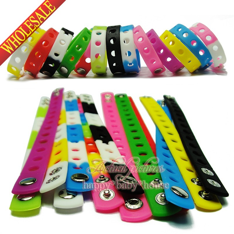 DHL OR EMS 18CM 1000PCS Mixed 17 Colors Silicone Wristbands Soft Bracelets Bands for Shoe Charms