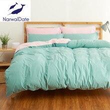 Juegos de cama de Sarga/Full/Queen/King Duvet Hoja Plana de Almohada Doble ropa de Cama de Color Sólido Juego de Cama