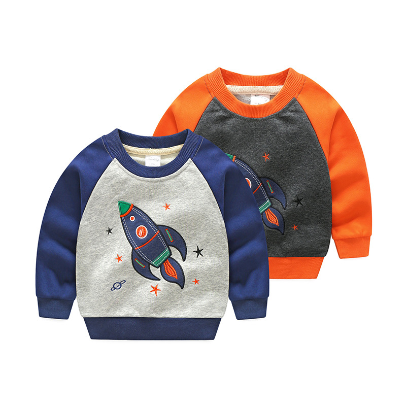 V-TREE 2018 Spring Boys T-Shirts Cartoon Spacecraft Baby Sweatshirt For Kids Girls Tops 2-8T Baby Tees Children Clothing