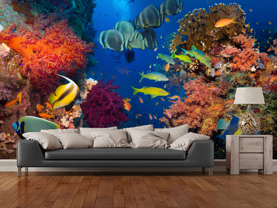 Custom live fish wallpaper. Coral and Fish. 3D wallpaper murals for living room bedroom kitchen wall waterproof vinyl wallpaper blue earth cosmic sky zenith living room ceiling murals 3d wallpaper the living room bedroom study paper 3d wallpaper