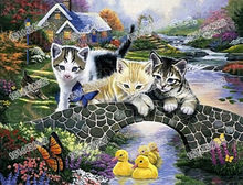 Dinding Gambar Buddha Lukisan Bebek, Kucing, 5D DIY Diamond Lukisan Kucing diamond Bordir Penuh Cross Stitch Rhinestone 2019 Art(China)