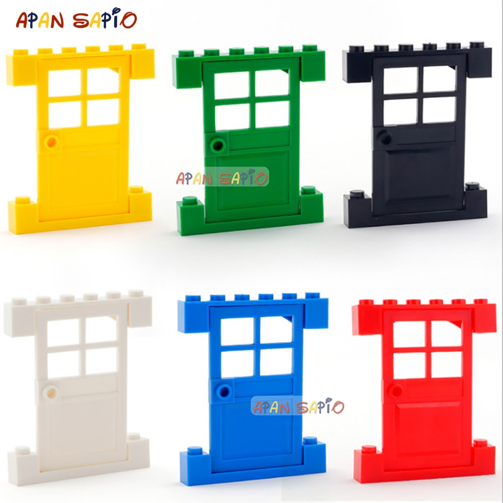 DIY Blocks Building Bricks Doors And Windows 3PCS Educational Assemblage Construction Toys For Children Compatible With Brands