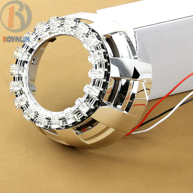 ФОТО Lotus Angel Eyes for 2.5 3.0 inch Car Bi Xenon Projector Headlight Lenses White 80mm 100mm LEDs Halo Ring External Lights Lens