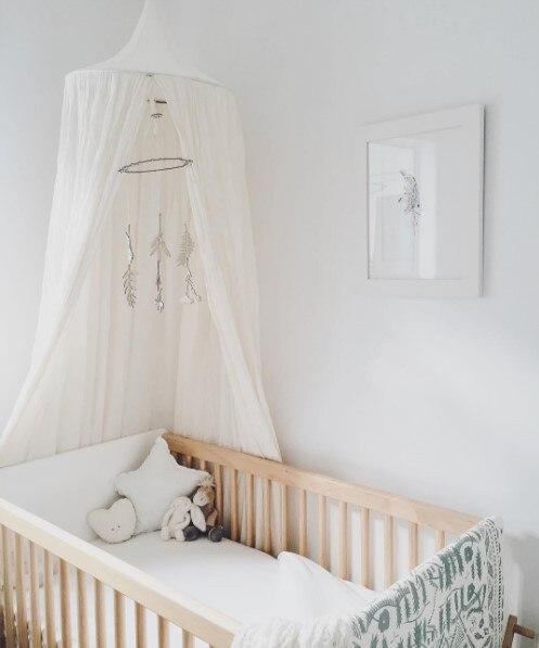 7 цветов, хлопок, для девочек и мальчиков, кровать, навес, для чтения, уголок, палатка, купол, москитная сетка, подвесное украшение, внутренний игровой домик для детей - Цвет: White