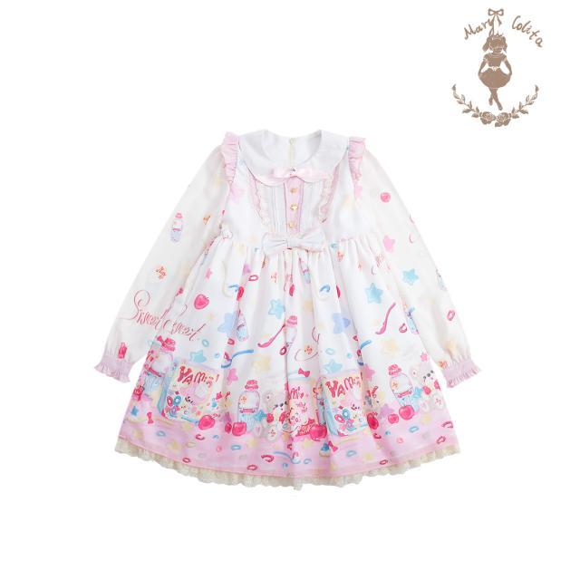 Livraison gratuite 2019 nouveau spectacle Mary's Original oeuf-lait étoile Lolita doux en mousseline de soie Op taille haute à manches longues robe après vente