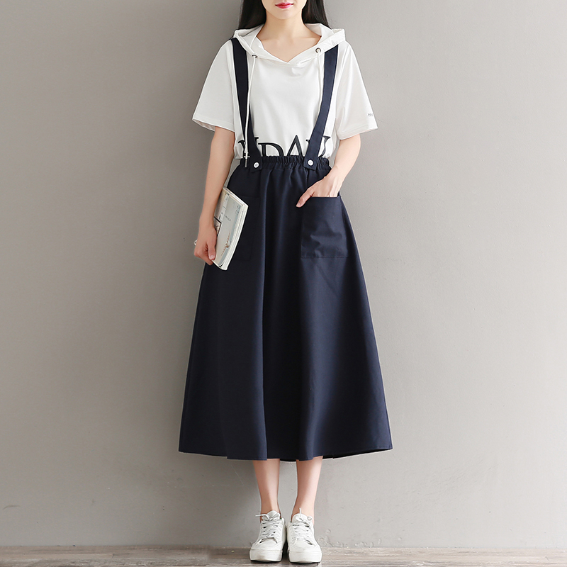 Mori Girl Long Skirts Apricot,Navy Blue Summer Saia Women Detachable Straps Cotton And Linen Skirts With Pockets