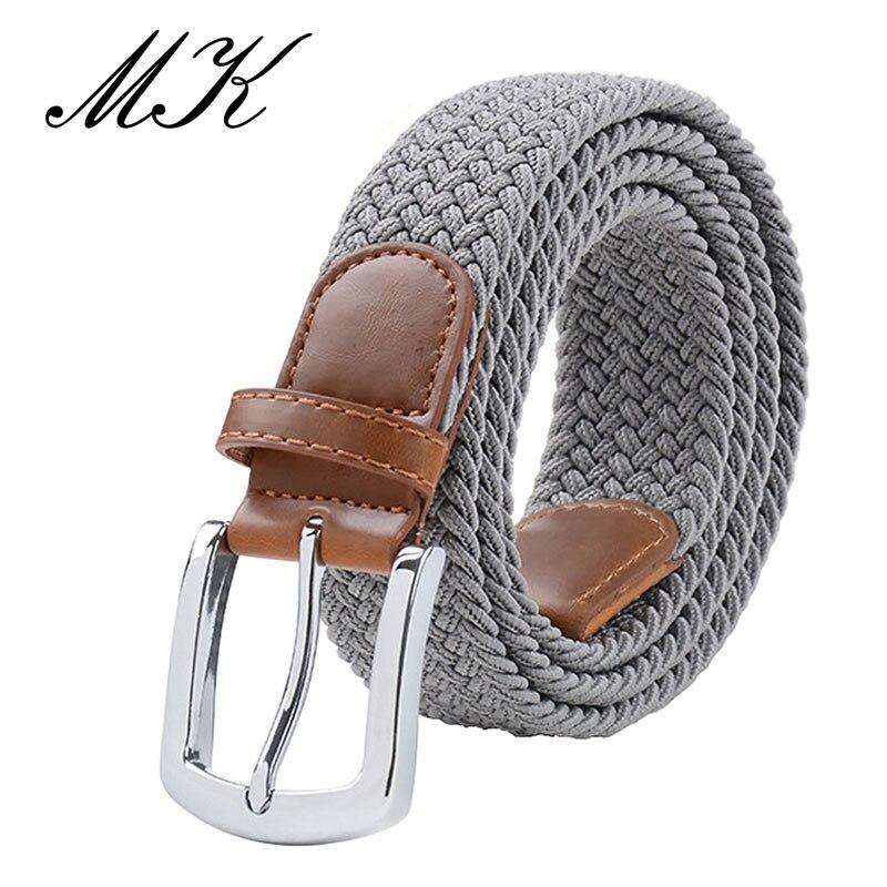MaiKun мужские ремни с металлической пряжкой булавки эластичный мужской ремень армейский тактический ремень для мужчин - Цвет: Grey