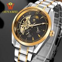 OUYAWEI Marca de Lujo Reloj Automático Para Hombre Esqueleto Mecánico Reloj de Pulsera Moda Casual Acero Inoxidable Reloj Relogio masculino