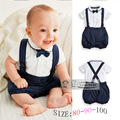 fashion NEW  summer  Children's solid short sleeve set boy  t-shirts and overalls formal party Suits clothes 2pcs with bowknot