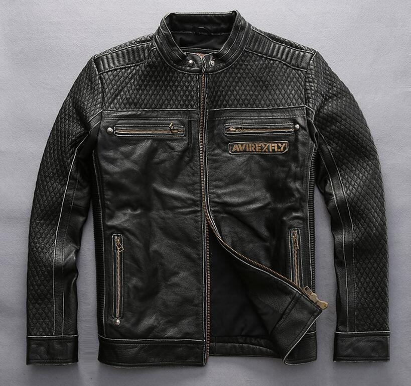 AVIREXFLY winter men real leather jacket Harly clothing Leather Slim collar head layer cowskin leather jacket short black coat