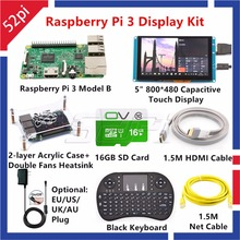 Wholesale 52Pi Raspberry Pi 3 Model B Kit with 5inch 800*480 Capacitive Touch Display Monitor+16GB Card+5V 2.5A EU/US/UK/AU Power+Keyboard