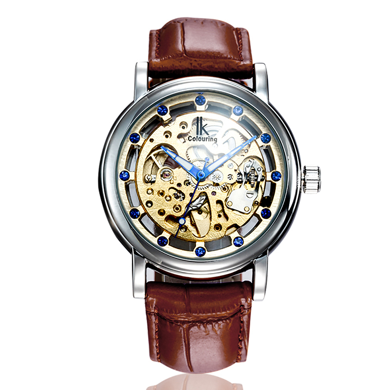IK COLOURING Men Watch Diamond Scale Hollow Dial Automatic Mechanical Movement Watches Leather Waterproof Business Wristwatch ik colouring automatic double sided hollow casual men s skeleton dial horloge auto mechanical wristwatch original box watch