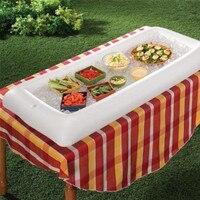 Creative Gonflable Table de Service De Stockage Plateaux pour Salade Alimentaire Boissons Bar Tenu de Glace Refroidisseur Partie Pique-niques Accessoires Blanc