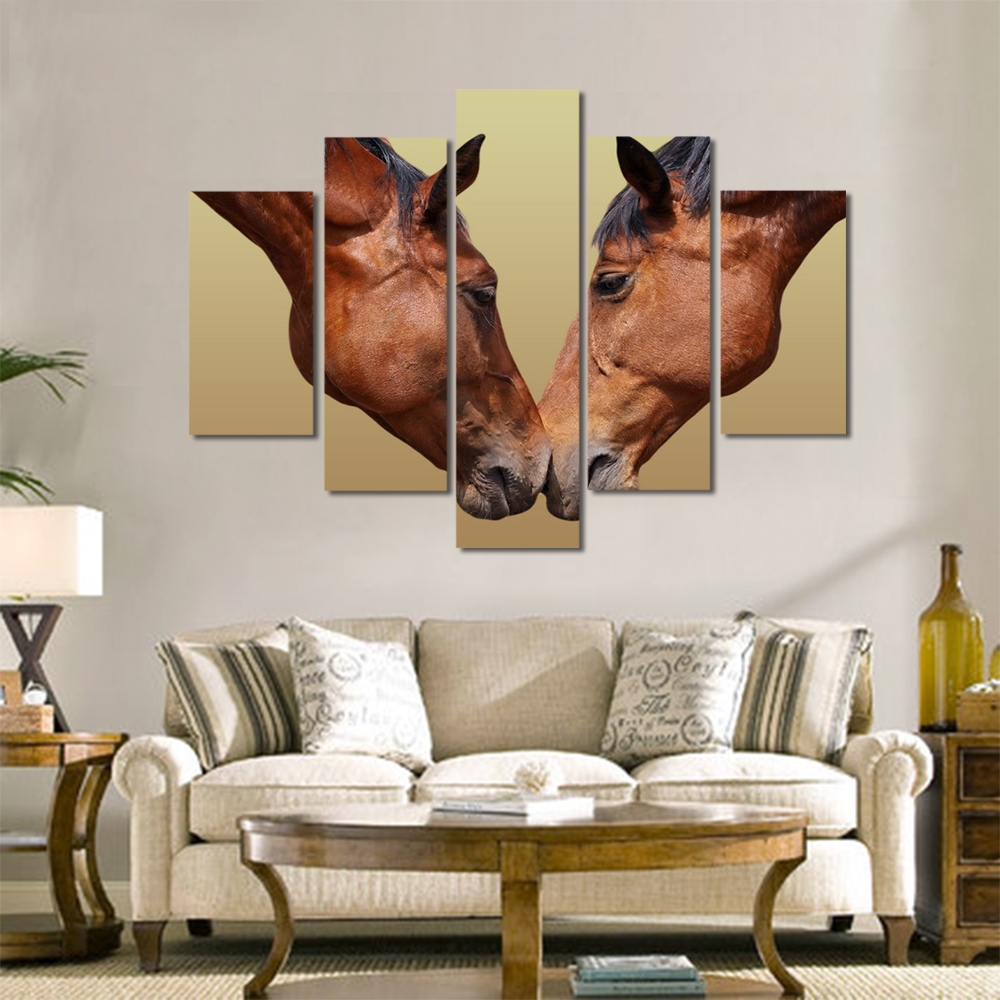 Unframed Canvas Animal Painting Meadow Brown Horse Pictures Prints Wall Picture For Living Room Wall Art Decoration Dropshipping