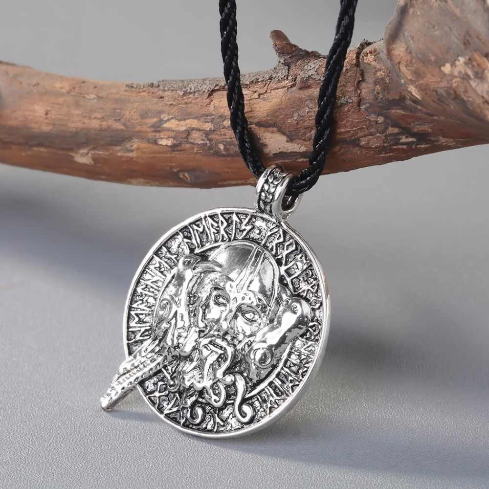 CHENGXUN Ancient Valknut Raven RUNE Pendant Necklace Old Man Pattern Norse Slavic Amulet Pendant Necklace Nordic Talisman