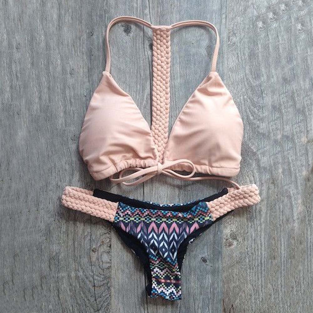 2018 Summer Pink Bowknot Push-up Padded Bra Swimsuit Bathing Hot Sexy Women Floral Low Waist Bikini Set Sling Weaving Swimwear
