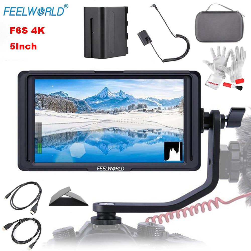 Feelworld F6S 5 Pouces 1920x1080 IPS LED Panneau Soutien 4 k HDMI Entrée Full HD Sur-Caméra moniteur pour Caméra avec Batterie Ultra-Mince