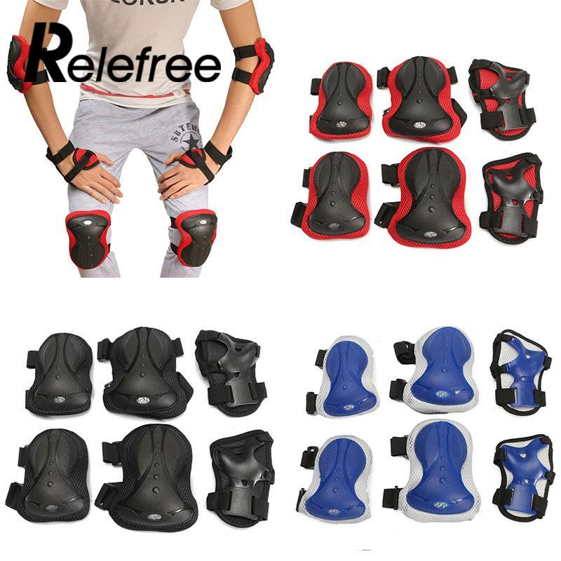 6pcs/set Adult Sports Safety Set Knee Elbow Pads Wrist Protector Kneecap Kneepads Protection For Scooter Cycling Roller Skating 5pcs in 1 outdoor sports protection skiing hip pad knee pads wrist support palm for roller skating snowboard protection black