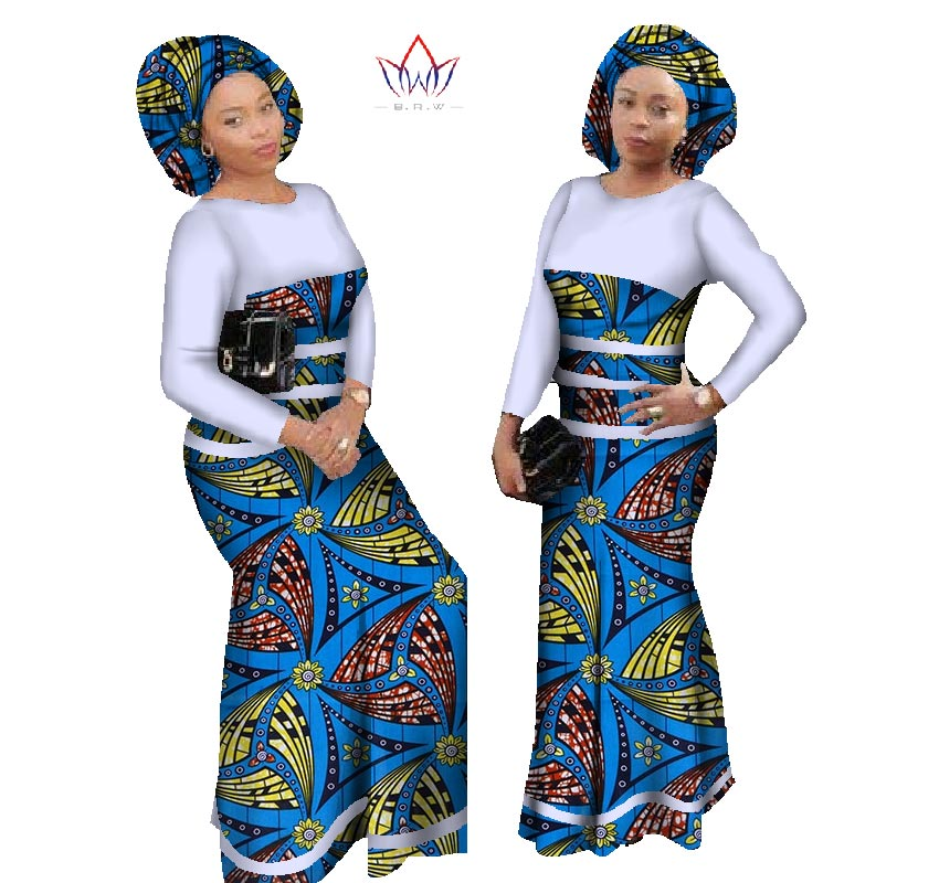 2018 New Design African Dress For Women Cotton Lace Print Patchwork Dresses Plus Size Bazin Riche Long Party Dress WY996