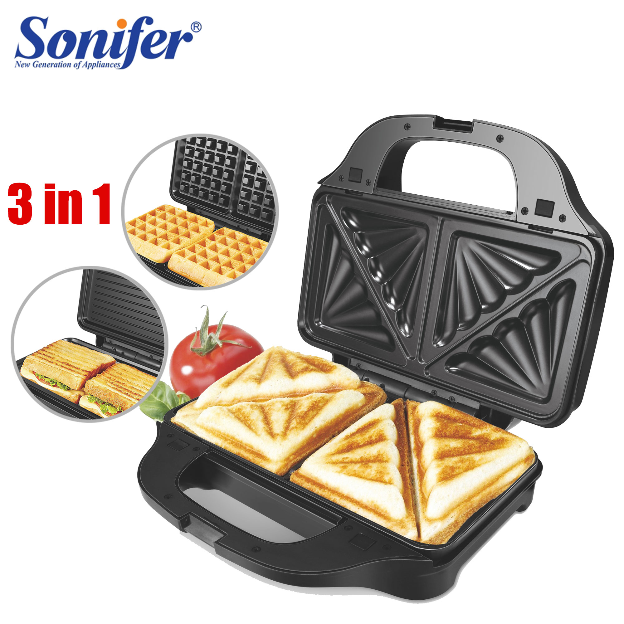 3 In 1 Electric Waffle Maker Iron Sandwich Machine Non-Stick Pan Bubble Egg Cake Oven Household Breakfast Waffle Machine Sonifer