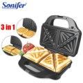 3 in 1 Elektrische Wafelijzer Ijzer Sandwich Machine Non-stick Pan Bubble Ei Taart Oven Ontbijt Wafel machine Sonifer