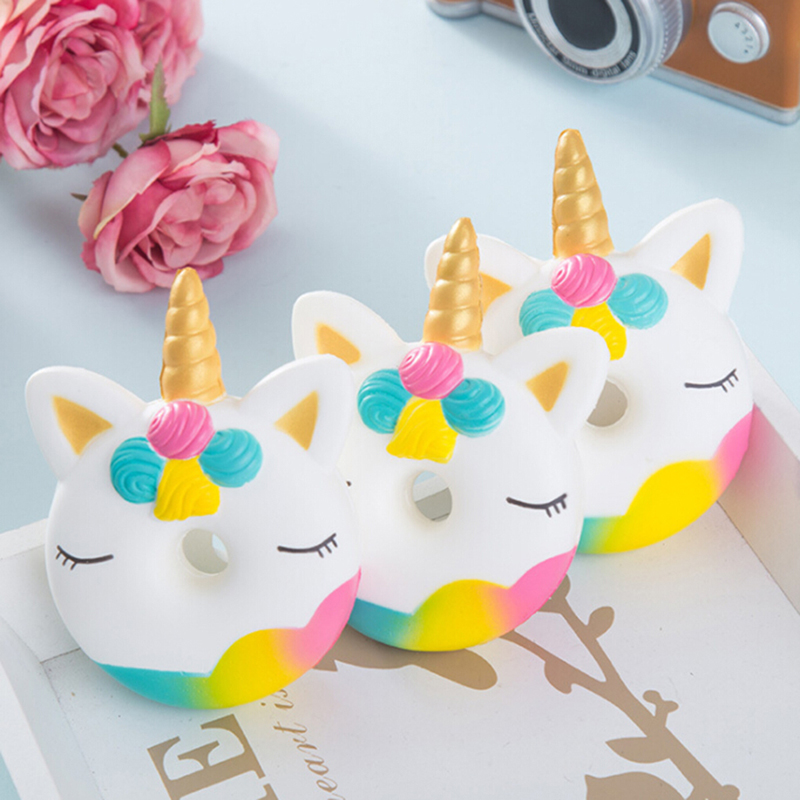 1PC Jumbo Unicorn Donut Squeeze Cake Bread Squishies Cream Scented Slow Rising Squeeze Toy