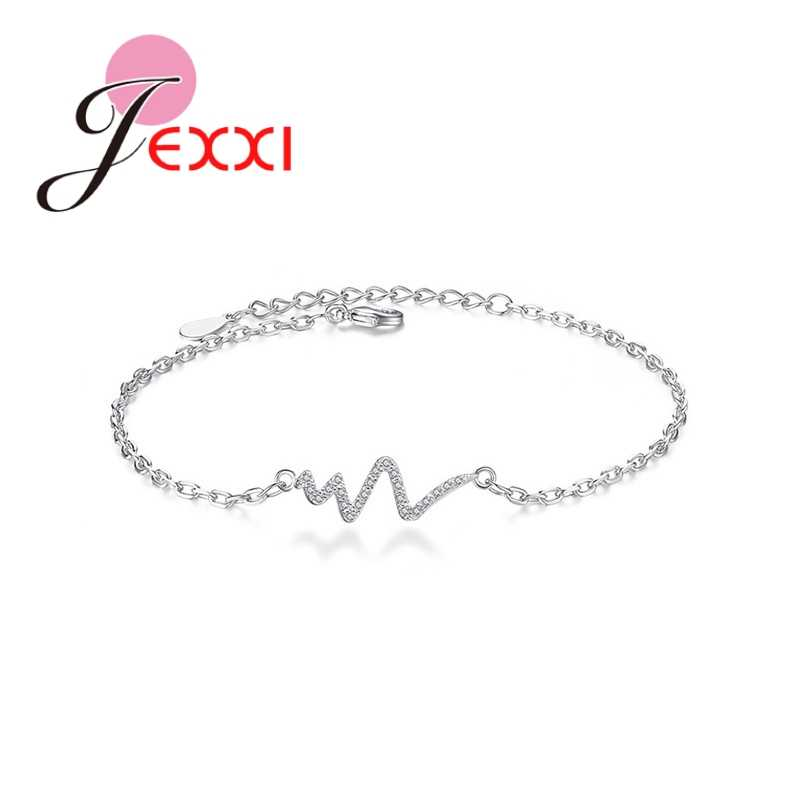 Latest Romantic 925 Sterling Silver Heartbeat Rhythm White Shining Crystals Bracelets Jewelry Best Gifts For Girlfriend