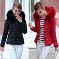 Ватник 2016 Новое Прибытие зимняя куртка женщины мода вниз хлопка куртка с длинным рукавом Тонкий короткий меховой воротник капюшоном пальто