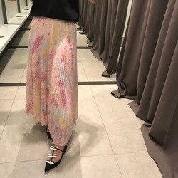 KENVY Marke mode frauen high-end-luxus elegante stern tüll print gefaltete Lange Rock