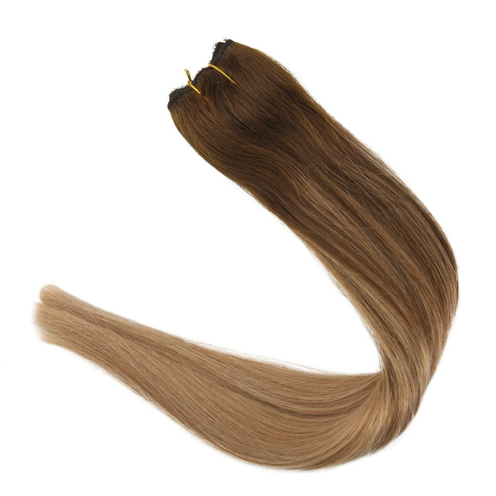 Full Shine 100% Machine Made Remy Hair Balayage Color #4/10/16 Fish Line Hair Extensions One Piece