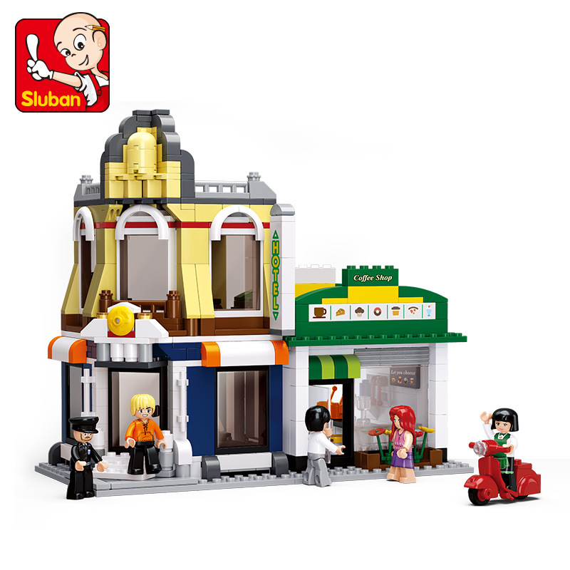 SLUBAN City Large Scene Cafe Hotel Villas Building Blocks Sets Doll House Bricks Model Kids Children gifts Toys Compatible Legoe lepin city town city square building blocks sets bricks kids model kids toys for children marvel compatible legoe