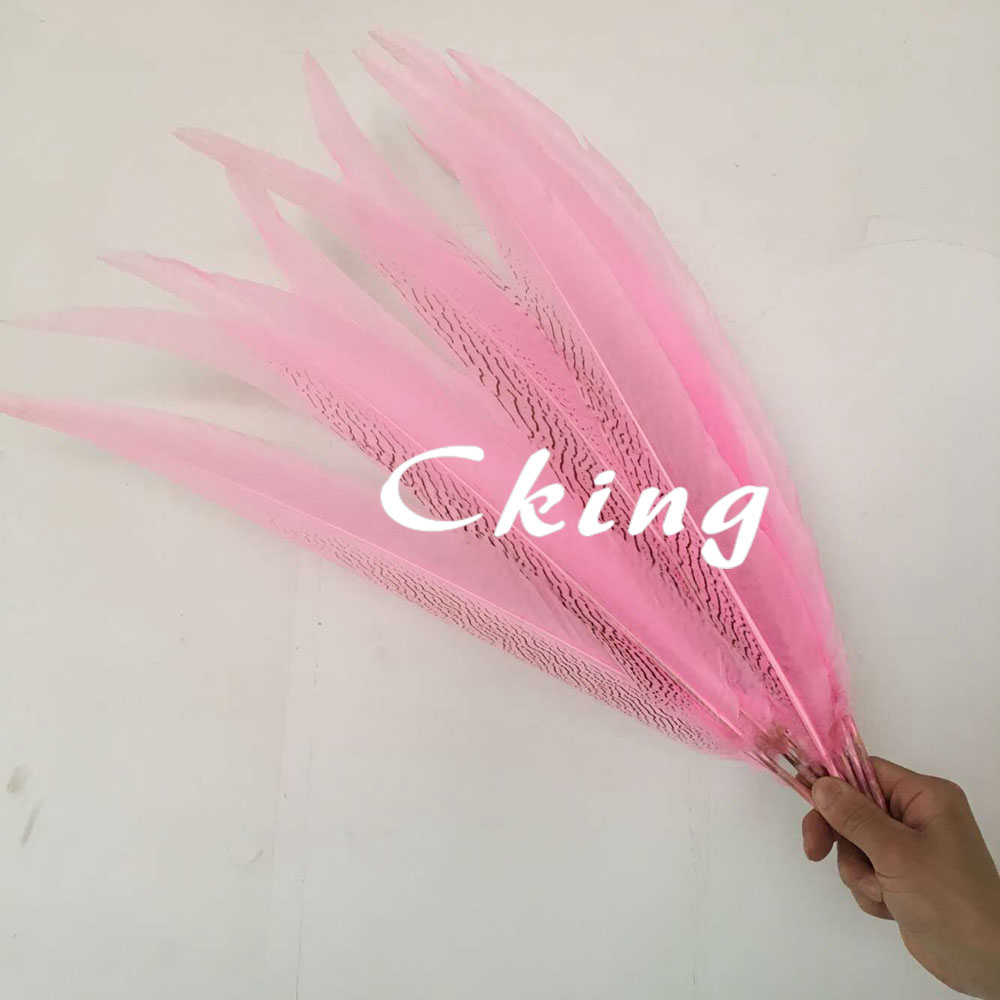 50Pcs lot 30 32inches 75 80cm long Pink Color Dyed Silver Pheasant Feathers NATURAL Silver Pheasant